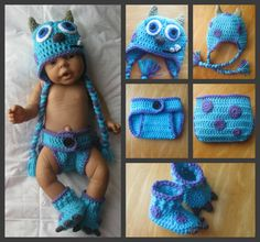 Monsters Inc Inspired Sulley Baby Outfit by CrochetCrazy2014, $33.00