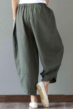 e8c06283ea7 Women s Patchwork Wide Leg Linen Pants Trousers with Big Pockets -  FantasyLinen Harems
