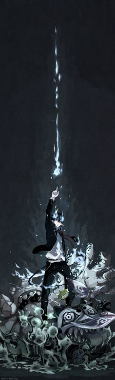 Blue Exorcist (Ao No Exorcist). Haven't read/watched this before, just found the picture super cool