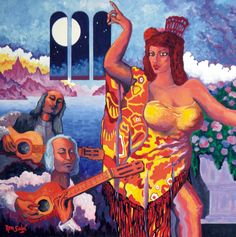 # 361 Dama y guitarras, tiempo de allí,   Autor: RomSabi, acrilico sobre tabla madera, 60x60cm