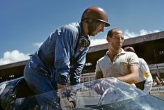 Tony Brooks and Sterling Moss, Vanwall at Reims, France, 1955.