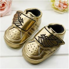 ADIDAS BABY SHOES Velcro toddler first steps infant jeremy scott ANGEL wing gold