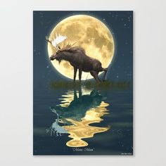 """Fine art print on bright white, fine poly-cotton blend, matte canvas using latest generation Epson archival inks. Individually trimmed and hand stretched museum wrap over 1-1/2"""" deep wood stretcher bars. Includes wall hanging hardware. https://society6.com/product/moose--moon-r2o_stretched-canvas?curator=skyeryanevans (scheduled via http://www.tailwindapp.com?utm_source=pinterest&utm_medium=twpin&utm_content=post124233333&utm_campaign=scheduler_attribution)"""