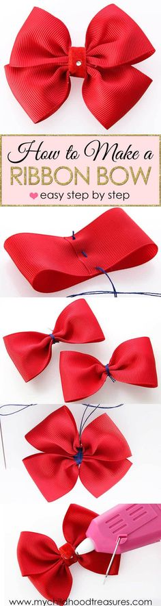 How to Make a Ribbon Bow – EASY Double Bow Tutorial Learn how to make a ribbon bow with this easy beginner tutorial. Ribbon Bows look great on hair clips, gift bags, clothing & all kinds of homemade presents. How To Make A Ribbon Bow, Diy Ribbon, Ribbon Crafts, Ribbon Bows, Ribbons, Ribbon Flower, Fabric Flowers, Making Hair Bows, Diy Hair Bows