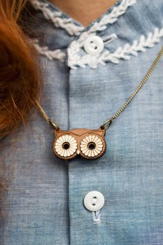 {Wooden Owl Mask Necklace} sweet!