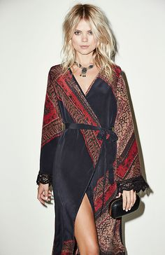 Stone Cold Fox Helena Silk Robe in Black One Size