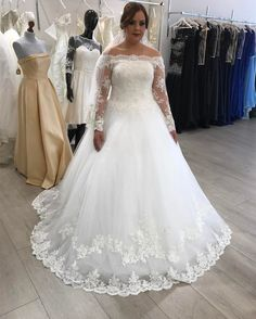 A-line Off The Shoulder Long Sleeves Lace Wedding Dresses Plus Size Bridal Gowns 2018