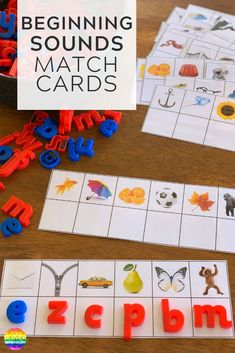 Printable Initial Sounds Match Cards - ready to print these cards are perfect for children learning the beginning letter sounds in words. Great activity for Word Work or literacy center stations Letter T Activities, Alphabet Activities, Literacy Centers, Nursery Activities, Reading Centers, Literacy Skills, Teaching Letter Sounds, Phonics Sounds, Creative Writing