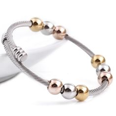 Wire line colorful beads cross Stainless steel Cable stretch bracelet Bangles for women