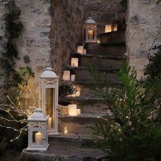 lanterns and candles up a staircase Candle Lanterns, Paper Lanterns, Battery Candles, Tall Lanterns, White Lanterns, Flameless Candles, Pillar Candles, Outdoor Lighting, Outdoor Decor