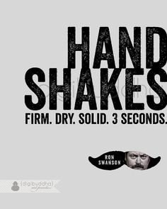 Ron Swanson Quote Poster Handshakes Firm by digibuddhaArtPrints
