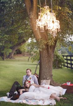 Tree chandelier! Country Wedding Inspiration by Terra Dawn Photography | Style Me Pretty