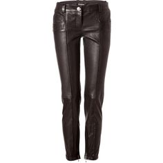 BALMAIN Black Leather Pants ($2,870) ❤ liked on Polyvore