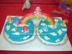 Homemade Care Bear Cake: This Care Bear Cake was a cake I made for my daughter's fourth birthday. I got ideas on the internet, I used two 9 round cakes and frosted them with bright