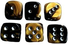 Custom & Unique {Standard Medium 16mm} 6 Ct Pack Set of 6 Sided [D6] Square Cube Shape Playing & Game Dice w/ Rounded Corner Edges w/ Swirl Pearl Agate Stone Two Tone Design [Gold, Black & Silver]