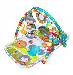 The best first play spot, according to parents, is a Fisher-Price activity mat. The SnugaMonkey Musical Play Gym has six toys that can be moved around. $35; Target.com (via AmericanBaby.com) #ABBestAwards