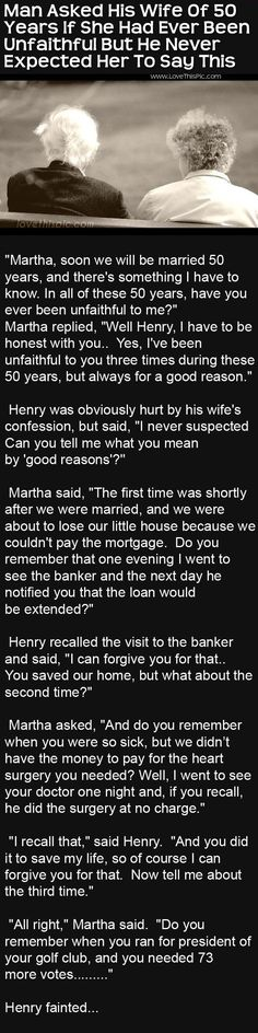 Man Asks His Wife If She Has Ever Been Unfaithful But He Never Expected This funny jokes story lol funny quote funny quotes funny sayings joke hilarious humor stories marriage humor funny jokes