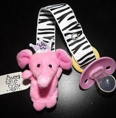 ❤�� Zebra PRINCESS PINK ELEPHANT Pacifier Leash Paci Holder Clip Puppet Cute!