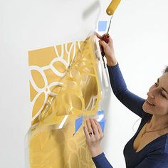 Large stencils and paint replace wallpaper. This is a great site for large wall stencils.