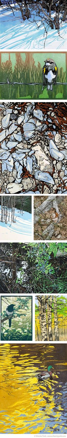 Sherrie York is a Colorado artist who works primarily in the medium of reduction linocut.