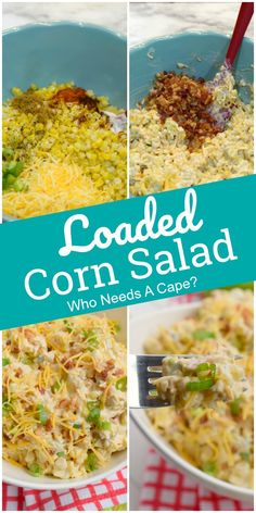 Add this delicious Summer Corn Salad to your BBQ menus. With bacon, cheese, spices and fresh corn, you'll love this simple side dish for barbecues. Best Salad Recipes, Potluck Recipes, Vegan Recipes Easy, Side Dish Recipes, Veggie Recipes, Cooking Recipes, Savory Salads, Corn Salads, Easy Salads