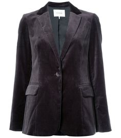 Mix up your typical jacket with this statement velvet blazer from Frame Denim. This blazer features a button closure in the center and two side pockets. Velvet Blazer, Velvet Jacket, Gray Jacket, Blazer Jacket, Blazer Buttons, Frame Denim, Denim Fashion, Outerwear Jackets