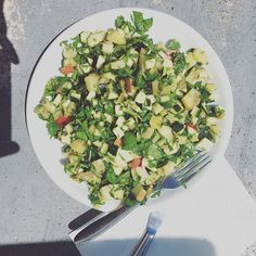 The remains from my last weeks shop were for lunch today. I made a salad with potatoes, zucchini, apple, baby spinach, flat leaf parsley dressed with lime, honey and mustard. - #yummy #fresh #tasty #foodie #delicious #yum #endofood #endodiet #fodmap #endometriosis #f52grams #simplefood #outside #quickandeasy #naturallight #healthyfood #officelunch #worklunch #theartofslowliving #zucchini #potato #summer #whatieat #lickingtheplate #leftovers #fodmapfriendly