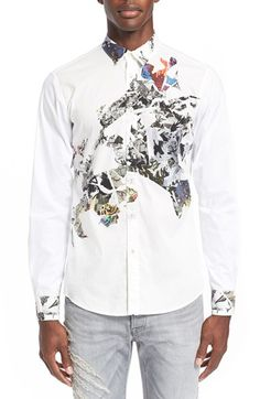 Just Cavalli 'Torn Collage' Trim Fit Print Sport Shirt
