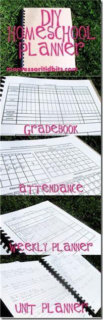 DIY #homeschool planner: gradebook, attendance, unit planner, monthly planner