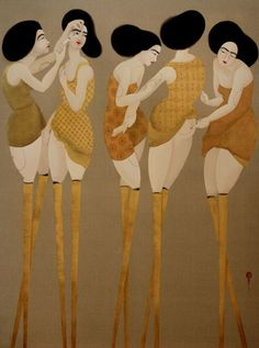 Hayv Kahraman's work grapples with the marginal spaces between Western and Middle Eastern culture, aesthetics and concepts of gender through her personal history as an Iraqi émigré to Europe and ultimately the US. Her paintings elegantly recall Japanese style calligraphy, Italian Renaissance painting and illuminated Arab manuscripts, though the subjects are deeply and psychologically brutal.