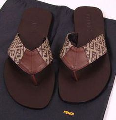 FENDI BROWN LOGO ZUCCA LEATHER THONG SANDALS