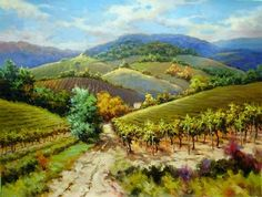David Kim - Autumn Wine Country Tuscany. Would love a print of this original painting for our dining room.