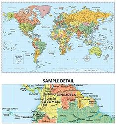 World Map Giant Poster Print, 55x39 inches, Colorful World Map BIG ...