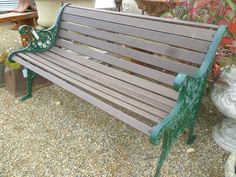 Wonderful CAST IRON END AND WOOD GARDEN BENCH