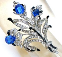 Blue Rhinestone Flower Brooch Pin Vintage Enamel