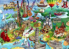 World-Wonders-Illustrated-Map-detail4.jpg (830×600)