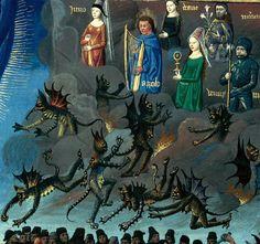 Mâcon - BM - ms. 0001, detail of f. 260 (pagan gods and demon intercessors). St. Augustine, La Cité de Dieu. Paris, c.1480.