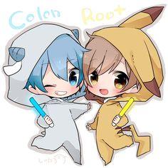 Colon and Root pajamas Anime Neko, Cute Anime Chibi, Cute Anime Boy, Kawaii Anime Girl, Neko Boy, Chibi Boy, Pokemon, Pikachu, Anime Style