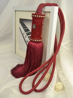 6 Colors QYM29 Polyester Curtain Tassel Tie Backs in Red Color