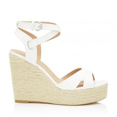 Louisa Espadrille Wedges (870 ZAR) ❤ liked on Polyvore featuring shoes, sandals, espadrille sandals, espadrille wedge sandals, white wedge shoes, wedge espadrilles and white wedge sandals