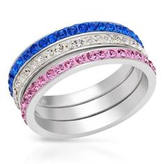 Three Tone Enamel  Rings With Crystals