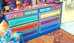 Crazy colorful painted dresser