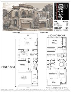 floor plan: 3 (or 4) bdrm 2 storey, good for narrow lot, change 2nd floor bath so opens to hall, large closets for bdrms on each side, then study could be 4th bdrm/guest room, enlarge master shower into utility room