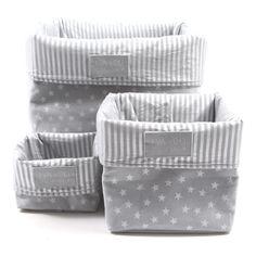 Caja de almacenamiento Gris claro - Estrellas plata Eva & Oli - Decoración Infantil - Smallable 19 euros