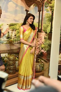 Check out beautiful Kajal Agarwal wallpaper and HD photos and pictures. Kajal Agarwal is one of the most beautiful south Indian and Bollywood actress. Phulkari Saree, Silk Sarees, Saris, Indian Attire, Indian Wear, Indian Dresses, Indian Outfits, Kajal Agarwal Saree, Kanchipuram Saree