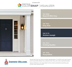 Front Door Color Research + Paint Giveaway - City Farmhouse found these colors with ColorSnap® Visualizer for iPhone-Roycroft Mist Gray (SW Gray Area (SW Anchors Aweigh (SW Knitting Needles (SW Pussywillow (SW 7643 Exterior Paint Colors For House, Paint Colors For Home, Beige House Exterior, House Shutter Colors, Outdoor House Colors, Stucco House Colors, Paint Colours, Outside House Paint Colors, Outdoor House Paint