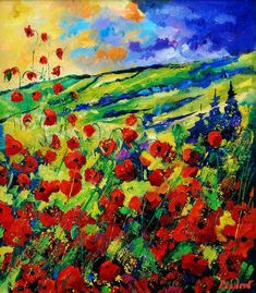 Poppies 78 Painting  - Poppies 78 Fine Art Print Pol Ledent