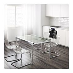 IKEA - GLIVARP, Extendable table, 1 extension leaf included.The glass table top lets light through, which makes the table feel neat and blend in, even when space is limited.A table top in tempered glass is stain resistant and easy to keep clean.The table is easy for one person to pull out alone and adjust for 4-6 people, according to need.