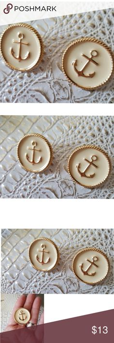 Earrings enamel anchors pierced gold off white These large disc earrings are painted with an off white enamel and show a gold anchor they are pierced earring and an older style they look like Avon but I don't see Avon written on them looks like in late 80s early 90s style earring Vintage Jewelry Earrings