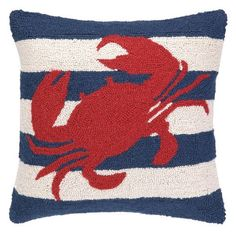 Red Crab on Blue and White Striped Nautical Pillow